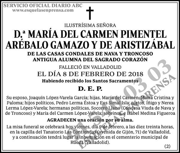 María del Carmen Pimentel Arébalo Gamazo y de Aristizábal